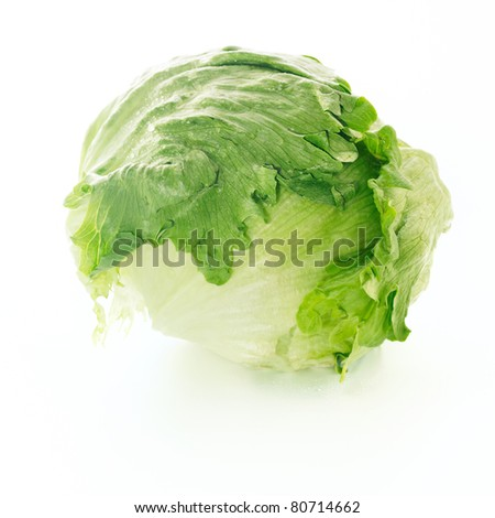 Fresh iceberg lettuce over white background. Crisphead - stock photo