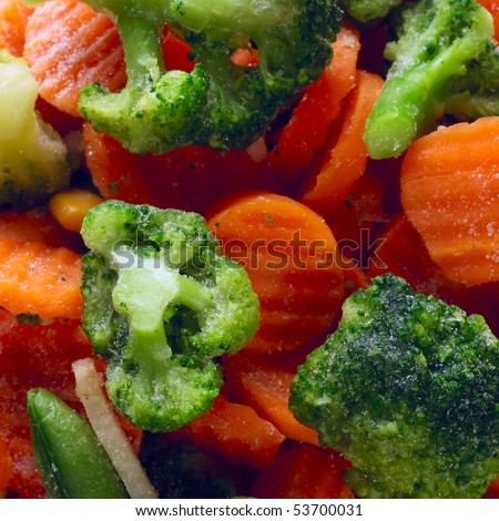 Fresh icy vegetables - stock photo