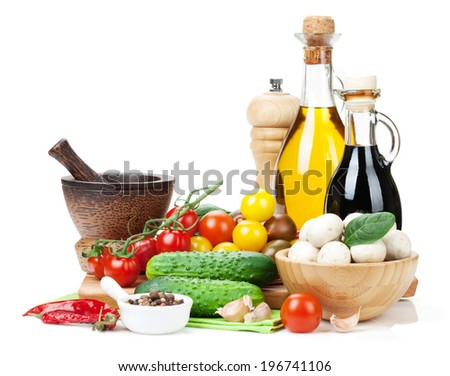 Fresh ingredients for cooking: tomato, cucumber, mushroom and spices. Isolated on white background - stock photo
