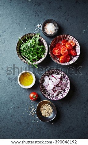 Fresh ingredients for salad - stock photo