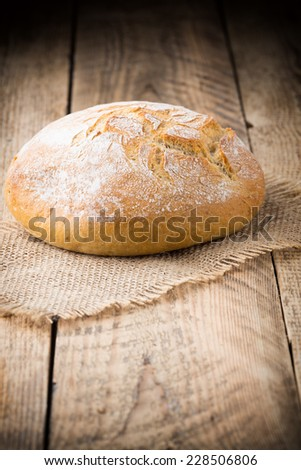 Fresh Irish bread on a wooden background. Studio photography.