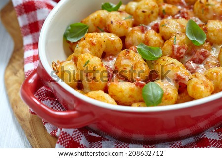 fresh italian gnocchi with tomato sauce and parmesan cheese - stock photo