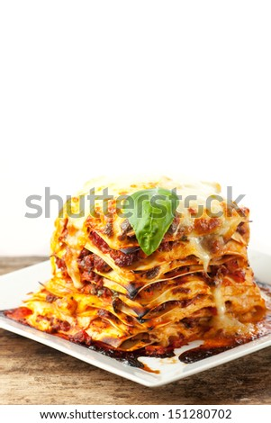 fresh italian lasagna  - stock photo