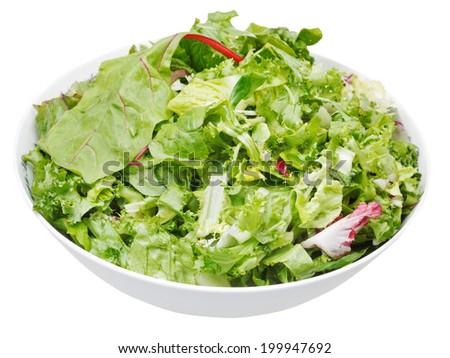 fresh italian lettuce mix in bowl isolated on white background - stock photo