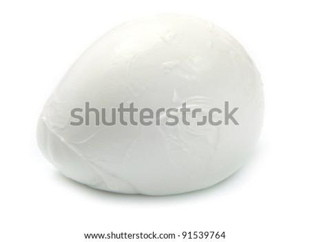 fresh italian  mozzarella on white background - stock photo
