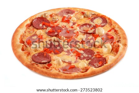 Fresh Italian pizza with salami, pastrami, ham, mushrooms and pepper isolated on white - stock photo