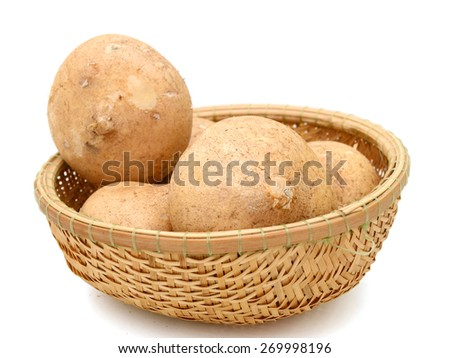 fresh jicamas in basket on white background  - stock photo