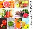 Fresh juice collage - stock photo