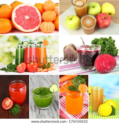 Fresh juice collage - stock photo
