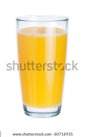 Fresh juice in glass on white background. The symbol of a healthy lifestyle - stock photo