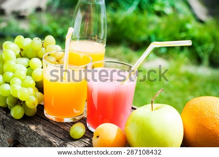 Fresh Juice in Glasses and Fruits on the Wooden Board Outdoor. Party time.  - stock photo