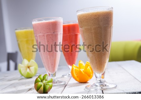 Fresh juice mix fruit, healthy drinks - stock photo