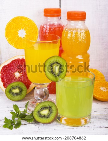 fresh juice, standing on a wooden table