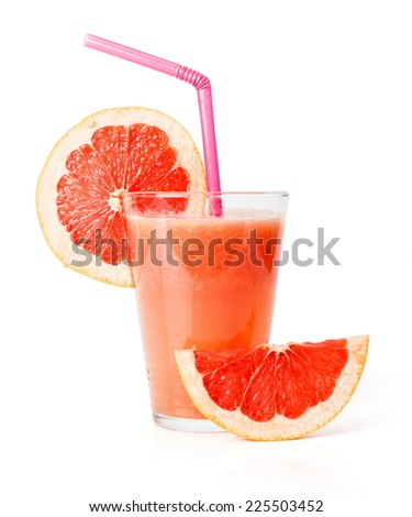 Fresh juice with red grapefruit slice and straw - stock photo