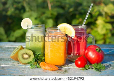 Fresh Juices Smoothie Red Green Yellow