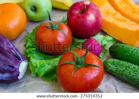 fresh juicy fruit and vegetables - stock photo