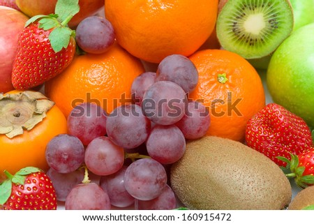 fresh juicy fruits and berries close-up. horizontal photo. - stock photo