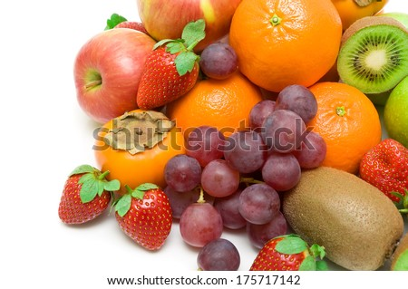 fresh juicy fruits on a white background. top view - horizontal photo. - stock photo