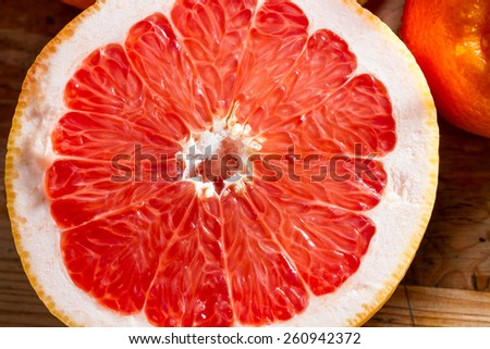 Fresh, juicy half grapefruit. Healthy breakfast. - stock photo