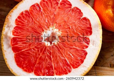 Fresh, juicy half grapefruit. Healthy breakfast. - stock photo
