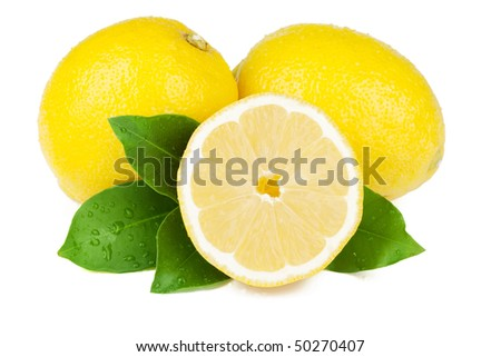 Fresh juicy lemons with green leafs. Isolated on white background