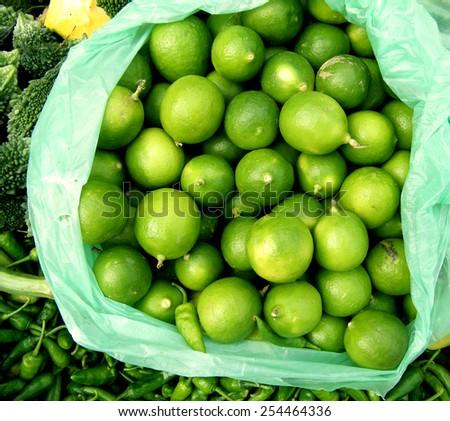 Fresh Juicy Limes in Local Market Sri Lanka - stock photo