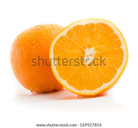 Fresh juicy navel oranges isolated on white background - stock photo