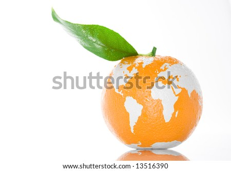 Fresh juicy orange with green leaf standing on white clean background. Fruit painted in world map. Creative conceptual image. - stock photo