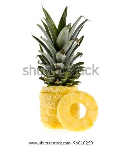 Fresh juicy pineapple. Isolated on white background - stock photo