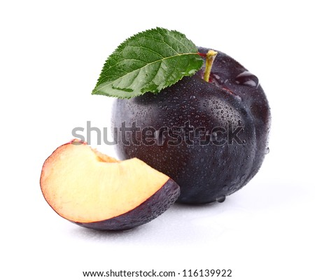Fresh juicy plum with slice - stock photo