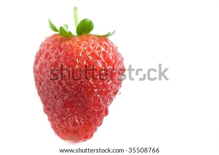 Fresh juicy strawberry covered in water droplets isolated on a white background - stock photo