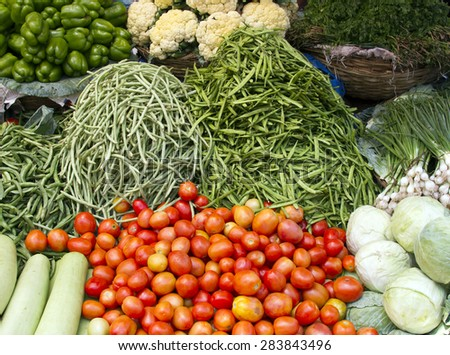 Fresh juicy vegetables on the counter in India Goa. - stock photo