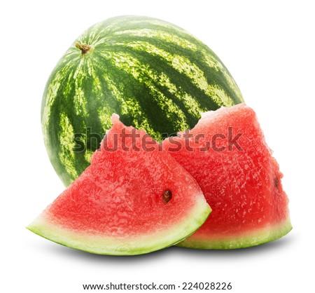 fresh juicy watermelon on the white background - stock photo