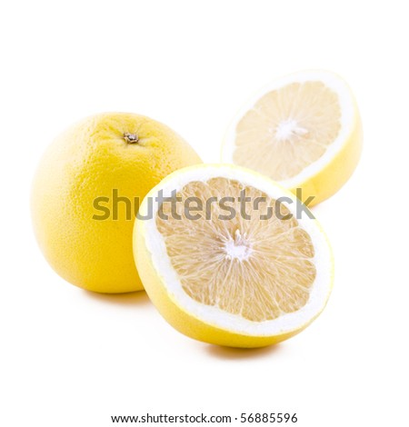 Fresh juicy white grapefruit isolated on white background