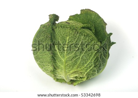 Fresh kale on white background, isolated, easy to manipulate. Without shadow. - stock photo