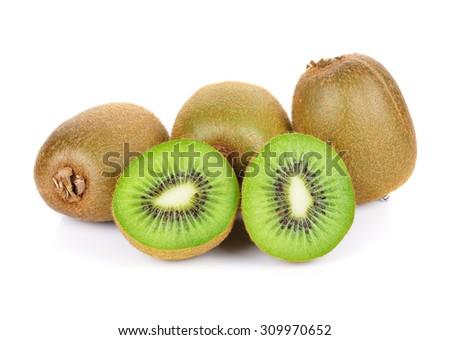 Fresh kiwi fruit on white background - stock photo