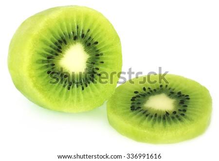Fresh kiwi fruit over white background - stock photo
