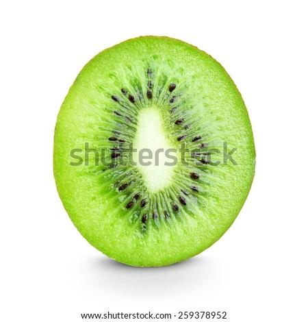 Fresh kiwi slice on white background - stock photo