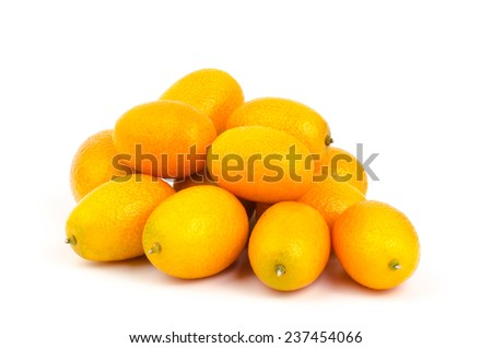 Fresh Kumquat orange on white background