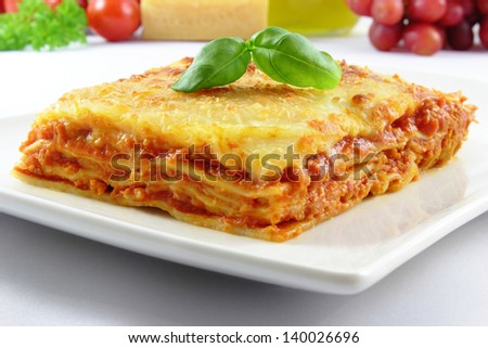 fresh lasagna with basil on top