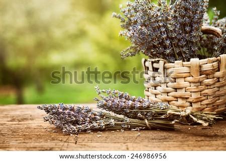 Fresh lavender. Lavender flowers on wood - stock photo