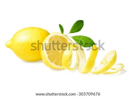 fresh lemon and lemon peel on white - stock photo