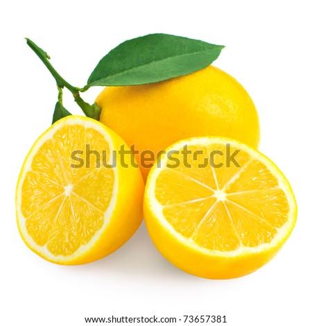 Fresh lemon citrus and half isolated on white background - stock photo