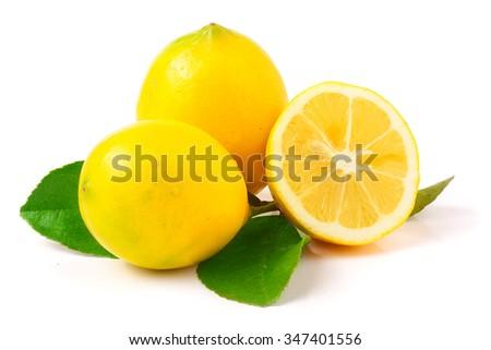 Fresh lemon isolated on white. - stock photo