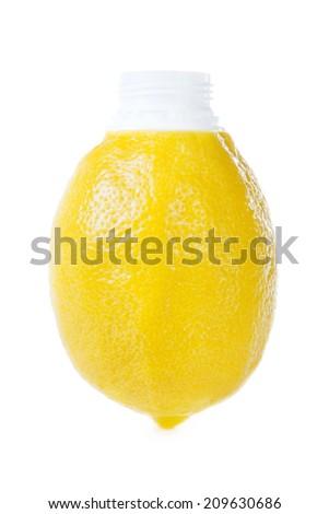 fresh lemon juice in original packing on white background - stock photo