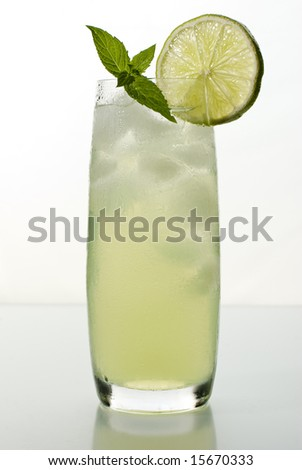 fresh lemonade from lime with ice close up - stock photo