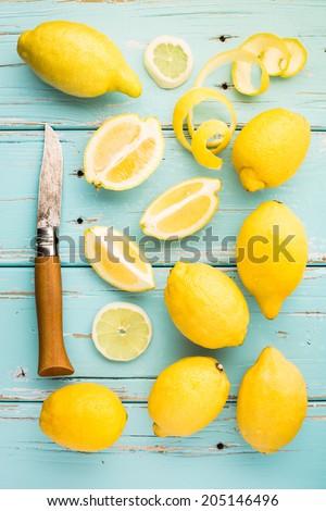Fresh lemons. - stock photo