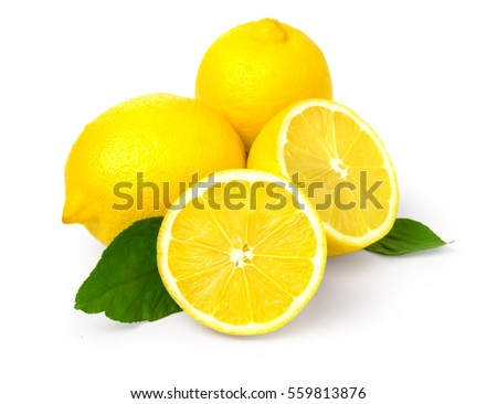 Fresh lemons on White ground with clipping path