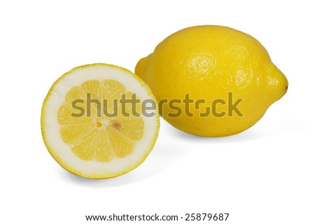 Fresh lemons over white. Clipping path included