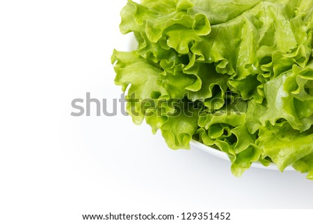fresh lettuce salad in bowl, isolated on white